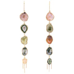Karolin Agate Geode Stud Earrings White Diamonds Pavé Hook