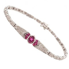 White Gold, Diamond and Ruby Bracelet