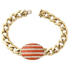 Bulgari 1970s Star Spangled Banner Collection Coral Diamond Gold Bracelet