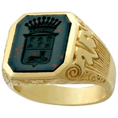 Antique 1930s Bloodstone and Yellow Gold Signet Ring