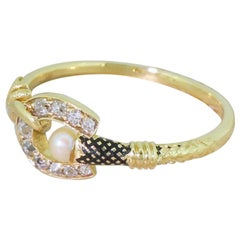 Victorian Old Cut Diamond and Pearl Equine Ring