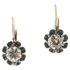 White Diamonds, Rose Gold and Silver Level Back Earrings