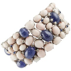 Diamonds, Blue Sapphires, Tanzanite, Pink Corals White Gold Band Bracelet