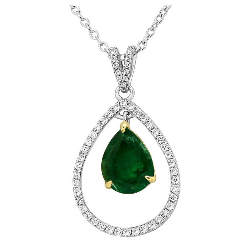 Emerald Diamond Halo Two-Color Gold Chain Drop Necklace For Sale