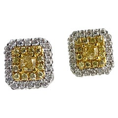 1.01 Carat Yellow Diamond Double Halo Stud Earrings in 18k White and Yellow Gold