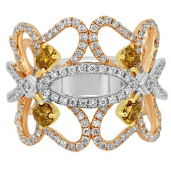 Natural Fancy Color Diamond Three-Color Gold Band Fashion Cocktail Ring
