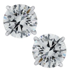 Vivid Diamonds GIA Certified 3.50 Carat Diamond Stud Earrings
