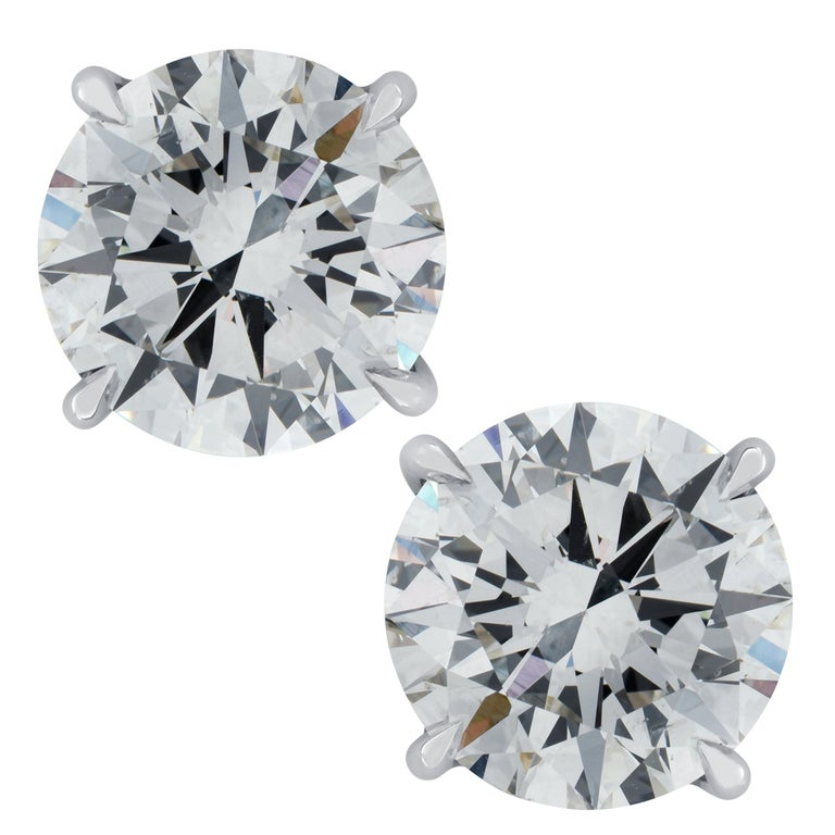 Vivid Diamonds GIA Certified 3.50 Carat Diamond Stud Earrings For Sale
