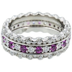 Tiffany & Co. Embrace Band, Platinum Diamond and Pink Sapphire with Accent Bands