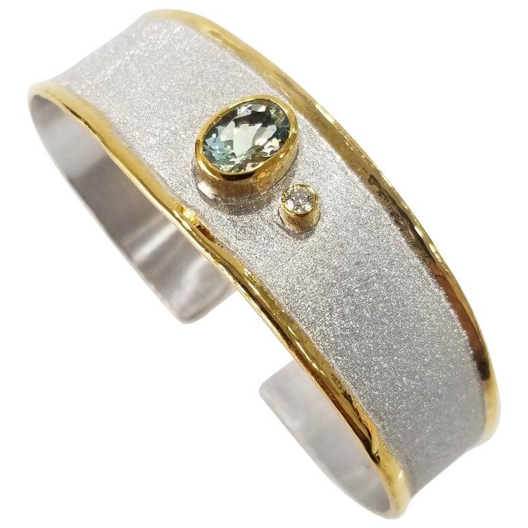 e57a55219866 Yianni Creations 1.10 Carat Aquamarine Diamond Silver 24 Karat Gold Bracelet  For Sale