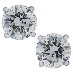 IGI Certified 2.01 Carat Diamond Stud Earrings