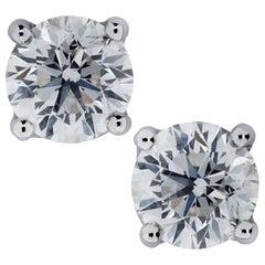 1.46 Carat Diamond Stud Earrings