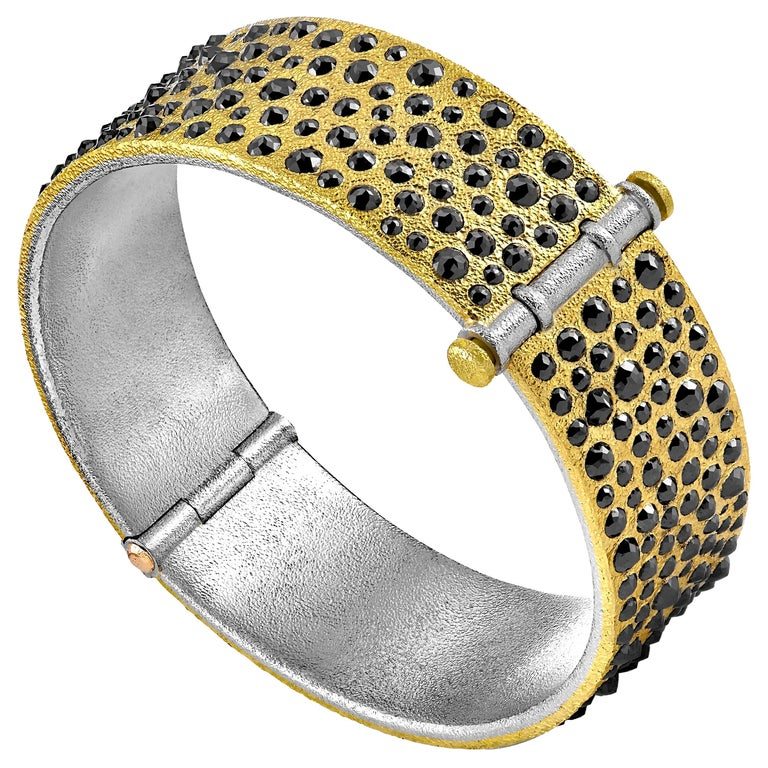 Devta Doolan 10.31 Carat Black Diamond Gold Platinum One of a Kind Cuff Bracelet For Sale