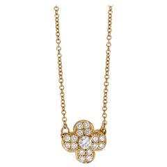 Van Cleef & Arpels 18 Karat Yellow Gold Diamond Trefle Necklace