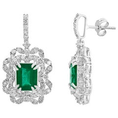 7 Carat Colombian Emerald Cut Emerald Diamond Hanging Earrings 18 Karat Gold