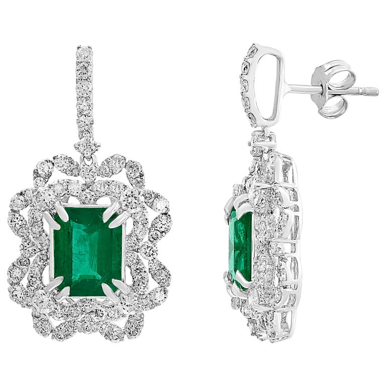 7 Carat Colombian Emerald Cut Emerald Diamond Hanging Earrings 18 Karat Gold For Sale