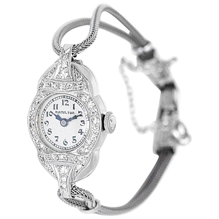 Hamilton Ladies White Gold Diamond Wristwatch For Sale