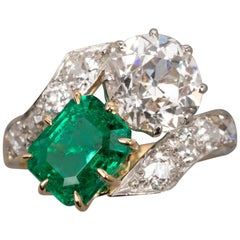 Certified Colombian Emerald and Diamond Belle Époque Ring