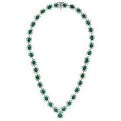 35 Carat Oval Shape Emerald and 23 Carat Diamond Necklace in 18 Karat Gold