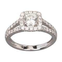 1.41 Carat Gold and Diamonds Engagement Ring