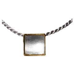 Yianni Creations Fine Silver and 24 Karat Gold Square Pendant Enhancer