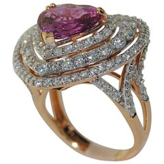 Pink Sapphire and Diamond Heart Shaped Ring in 18 Karat Rose Gold