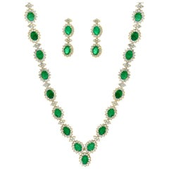 37 Ct Oval Shape Natural  Emerald & 22 Carat Diamond Necklace & Earring  Suite