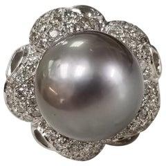 """14 Karat White Gold Grey """"South Sea Tahitian"""" in Diamond Pave' Flower Ring"""