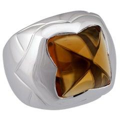Bvlgari 18 Karat White Gold Citrine Ring