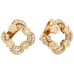 Bvlgari 18 Karat Yellow Gold Diamond Open Flower Earrings