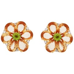 Bvlgari 18 Karat Yellow Gold Orange Sapphire Peridot and Diamond Earrings