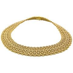 Estate 18 Karat Yellow Gold Diamond Wide Necklace