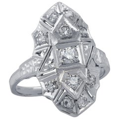 .50 Carat Art Deco Style Shield Ring