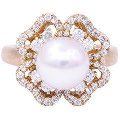 Akoya Pearl and Diamonds Rose Gold Fashion Ring