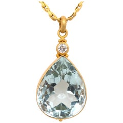Pear Shaped Aquamarine, Diamond, Yellow Gold Pendant