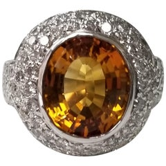 14 Karat White Gold Citrine Topaz and Diamond Pave' Ring