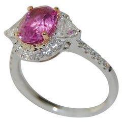 2.22 Carat Pink Sapphire and Diamond Ladies Ring, 18 Karat Gold