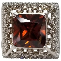 14 Karat White Gold Garnet and Diamond Ring
