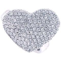 Giorgio Visconti 1.10 Carat Diamond Heart Shaped White Gold Ring