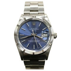 Rolex Date 15010 Blue Index Dial Stainless Steel Engine Turned Bezel