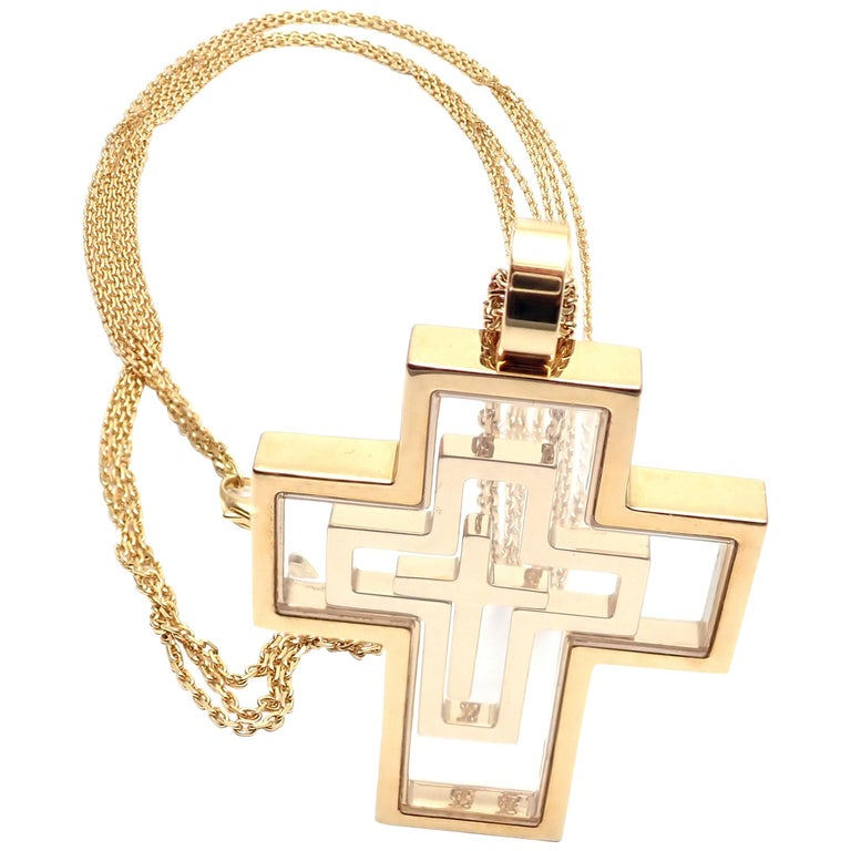 276d21dcb8a Chopard Cross Extra Large Yellow Gold Pendant Necklace For At. Large View. Diamond  Cross Necklace 1 4 Ct Tw Round Cut 10k Rose Gold 211436009