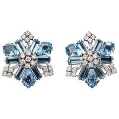 Boucheron Aquamarine and Diamond Snowflake Earrings