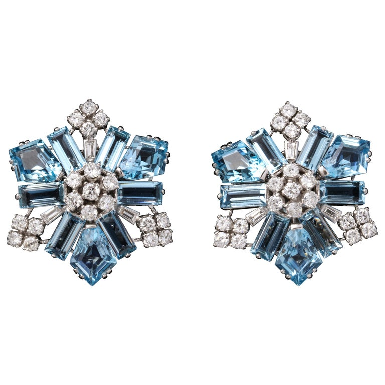 Boucheron Aquamarine and Diamond Snowflake Earrings For Sale