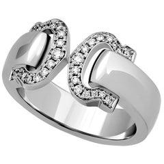 Cartier 18 Karat White Gold Double C Logo Diamond Ring