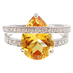 Golden Pear Shaped Citrine Diamond White Gold Double Band Ring