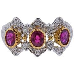 Mario Buccellati Diamond Ruby White Yellow Gold Ring