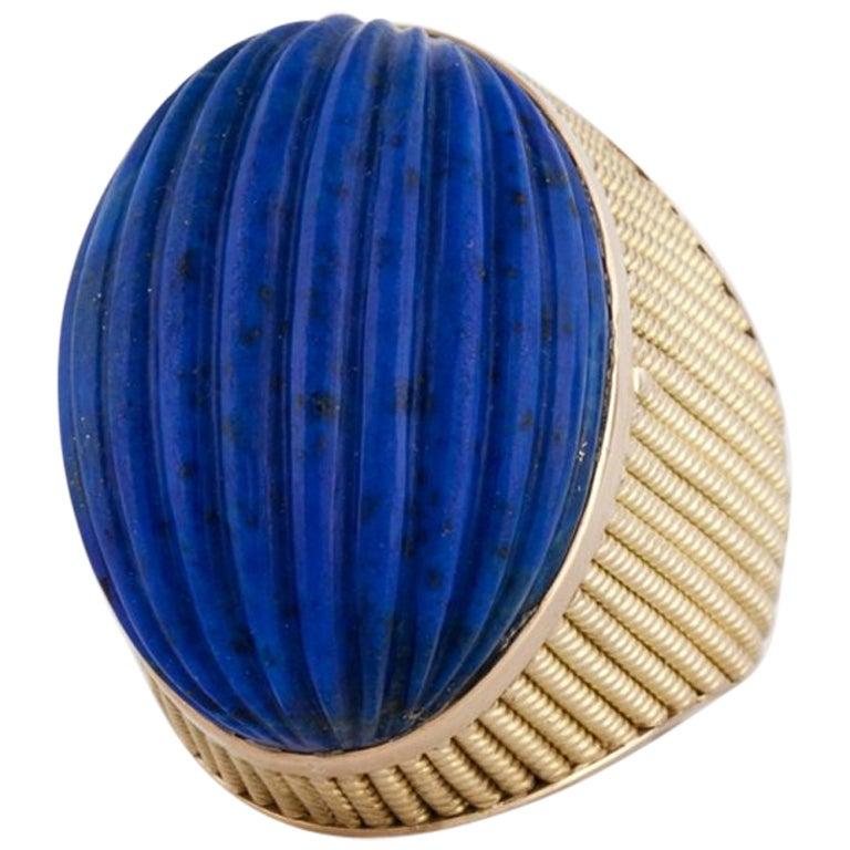 18 Karat Yellow Gold Lapis Ring