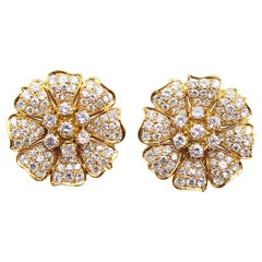 Impressive Floral Round Brilliant Cut Diamond Yellow Gold Ear Clips