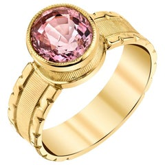 2.03 ct. Pink Spinel 18k Yellow Gold Bezel, Handmade Engraved Band Solitare Ring