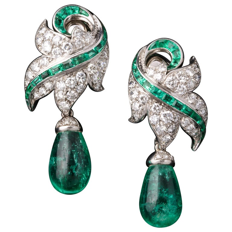 Rene Boivin Certified Important Emerald and Diamond Earrings For Sale